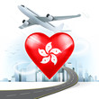 travel and transport concept with Hong Kong flag on heart