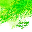 Vector watercolor background with feathers leaves