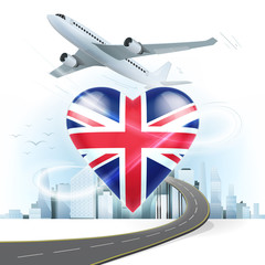 travel and transport concept with United Kingdom flag on heart