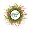 Vector summer round banner with flowers