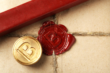 Parcel with wax seal, close up