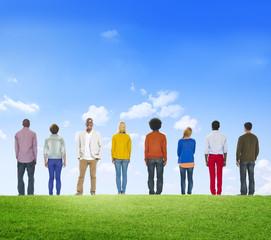 Multi Ethnic Group Fresh Green Creation Teamwork Concept