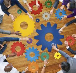 Cog Connection Managing Gear Teamwork Concept