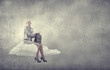 canvas print picture - Businesswoman on cloud