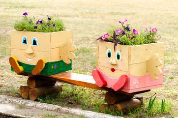 Street decorative flower bed in original design