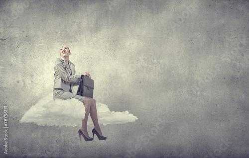 canvas print picture Businesswoman on cloud
