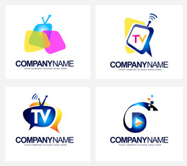 Tv Broadcast Logo. Creative vector icon design for television