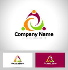 People Abstract Logo Design. Creative Unity Logo Concept