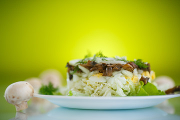 salad with cabbage and mushrooms