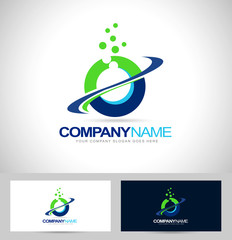 Circle Logo Design with Swash and blue green colors