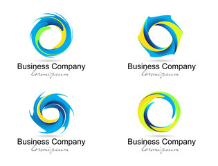 Corporate Business Logo. Creative vector spiral and circles.