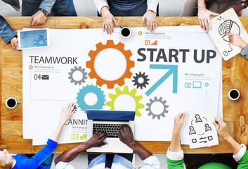 Startup New Business Plan Strategy Teamwork Concept