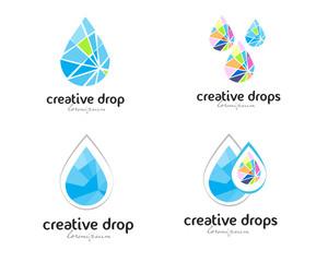 Water drop logo vector. Creative abstract drops