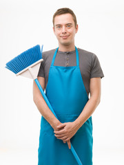 happy husband ready for cleaning
