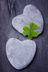 Two  grey heart shaped rocks with three leafed clover on a tile