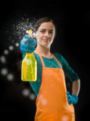 maid spraying window surface