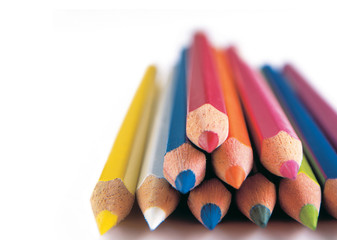 colored crayons on white