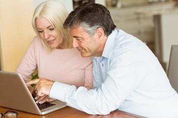 Happy mature couple using laptop