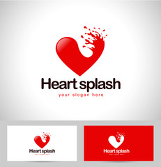 Red Heart Logo. Creative concept of a heart splash