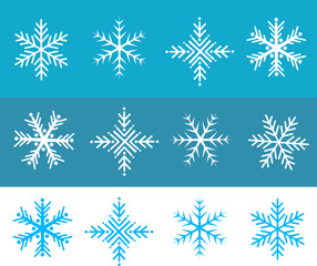 Snow flakes illustration vector in white and blue colors