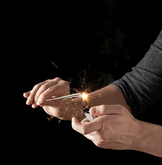 Lighting up a sparkler
