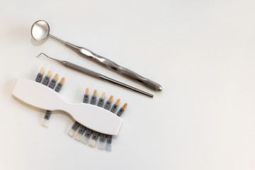 Plastic Dental implant to choose color tone of teeth
