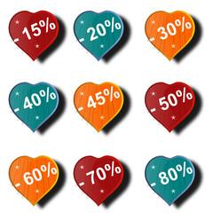Étiquettes soldes en forme de coeur