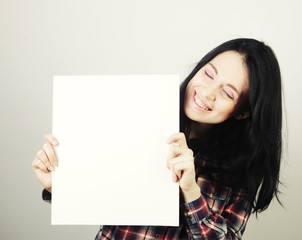 young woman happy holding blank sign