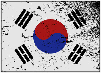 South Korea Flag Grunged