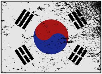 South Korea Flag Grunged