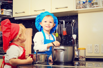 kids cooking in kitchen interior