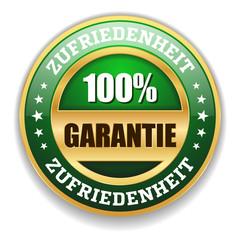 Grüner Zufriedenheits-Garantie Siegel Mit Gold Rand