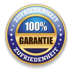 Blauer Zufriedenheits-Garantie Siegel Mit Gold Rand