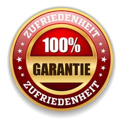 Roter Zufriedenheits-Garantie Siegel Mit Gold Rand