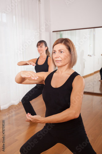 poster of two women making a fitness exercisen in synchrony
