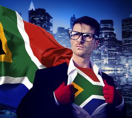 Businessman Superhero Country South Africa Flag Culture Concept