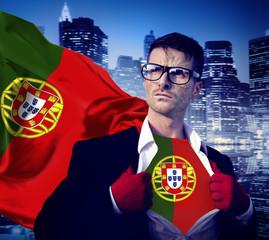 Businessman Superhero Country Portugal Flag Culture Concept