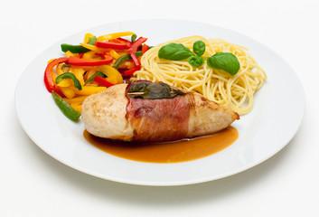 Hähnchenbrustfilet mit Spaghetti und Paprikagemüse