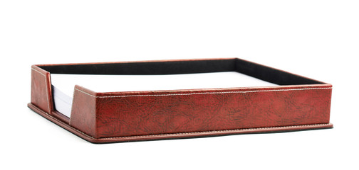 Red leather paper holder box