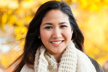 Young Asian woman outdoor autumn portrait