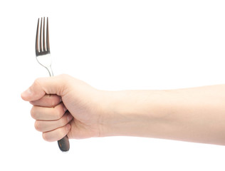 Male hand holding fork
