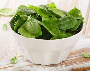 Spinach in a white bowl.