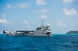 Cargo ship sailing in the Indian ocean near Seychelles