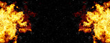 Fototapety bright explosion flash on a black backgrounds. fire burst
