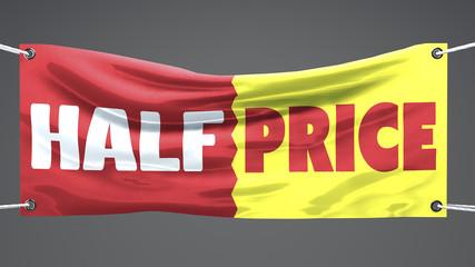 Vendite, striscione metà prezzo acquisti