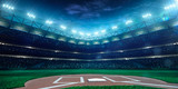 Professional baseball grand arena in night poster