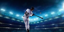 "Постер, картина, фотообои ""Professional baseball players on night grand arena"""