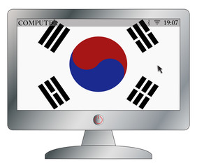 South Korean Flag On Computer Screen With Symbols