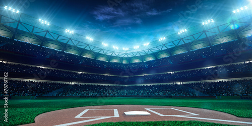 Fotobehang Sportwinkel Professional baseball grand arena in night