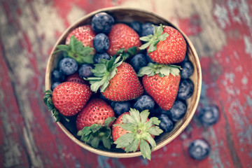 Bowl of Strawberries and Blueberries